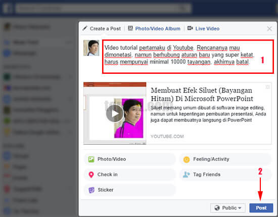 Cara mudah membagikan (share) video Youtube ke Facebook