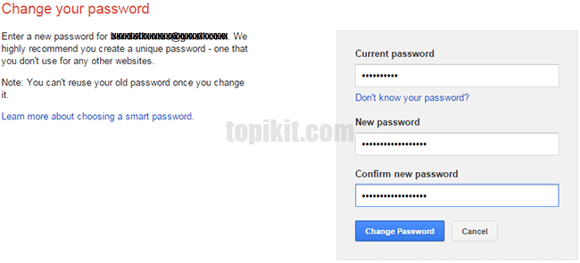 Merubah password akun Gmail