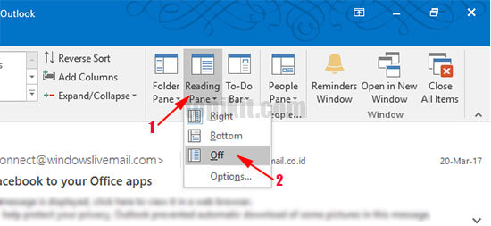 Menonaktifkan reading pane (area baca email) di Microsoft Outlook